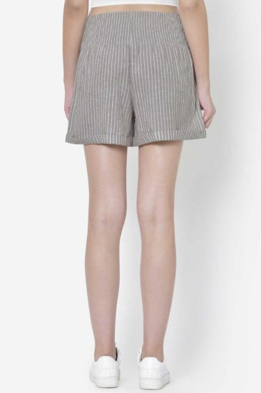 Brown Striped Buttoned Shorts