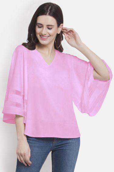 Pink Bell Sleeve Net Insert Top