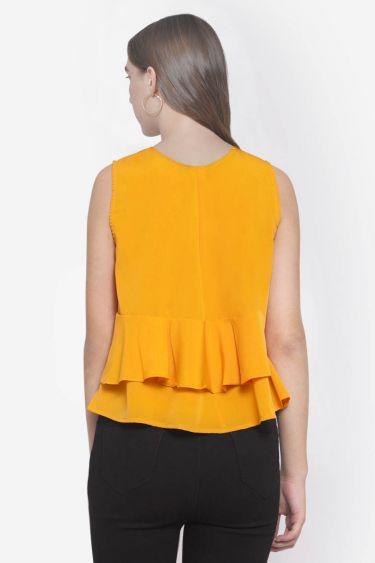 Layered Orange Yellow Sleeveless Top