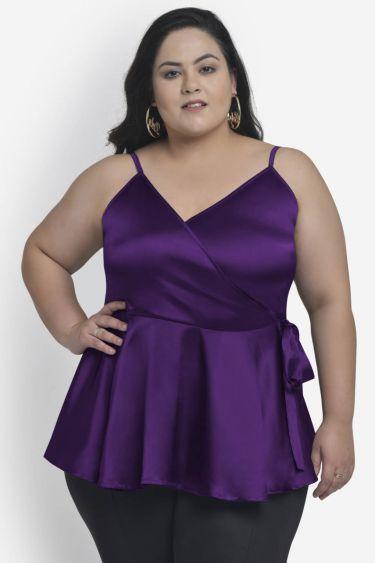 Purple satin plus size peplum top