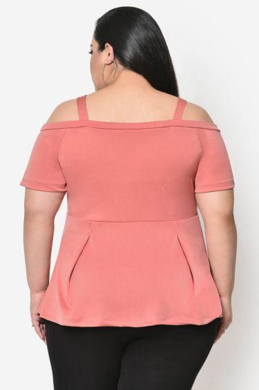 Pink shoulder cut out plus size top