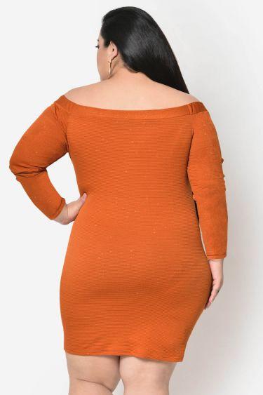 Rust off shoulder plus size dress