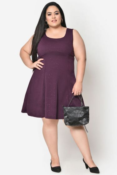 Purple glitter plus size skater dress