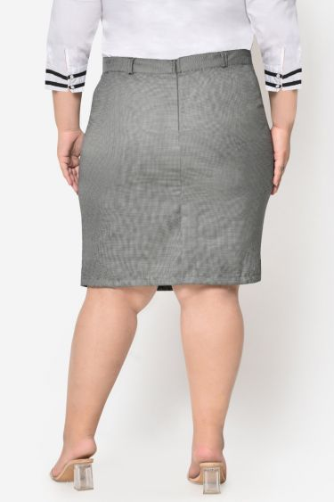 Black white dotted formal plus size skirt