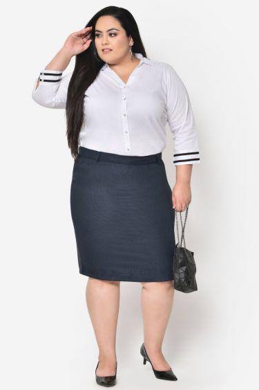 Blue black formal plus size skirt