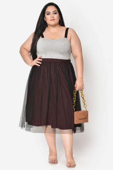 Wine with black mesh plus size skirt