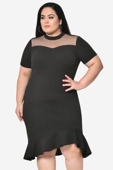 Black net yoke bodycon plus size dress