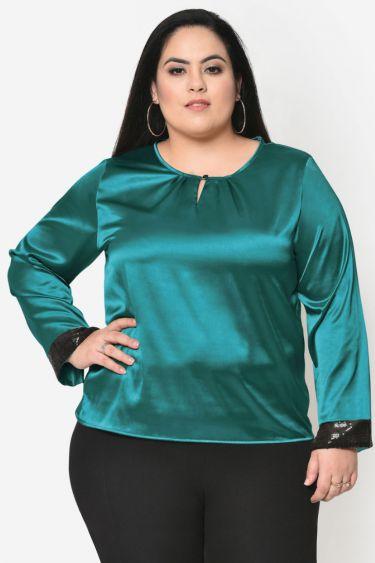 Turquoise plus size satin sequin cuff top