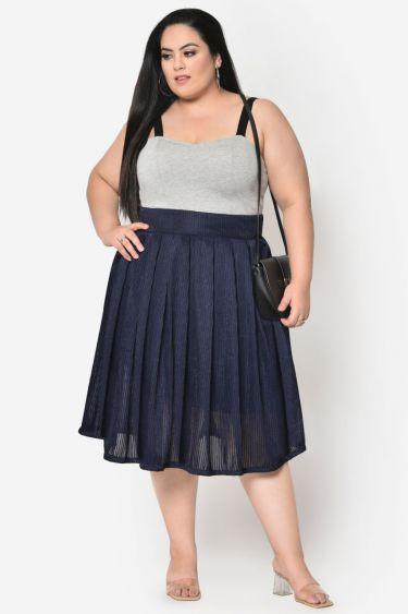 Blue embellished box pleated skirt
