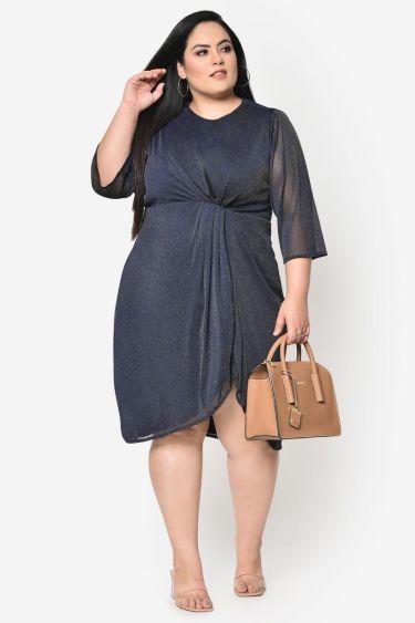 Navy blue lurex net plus size dress