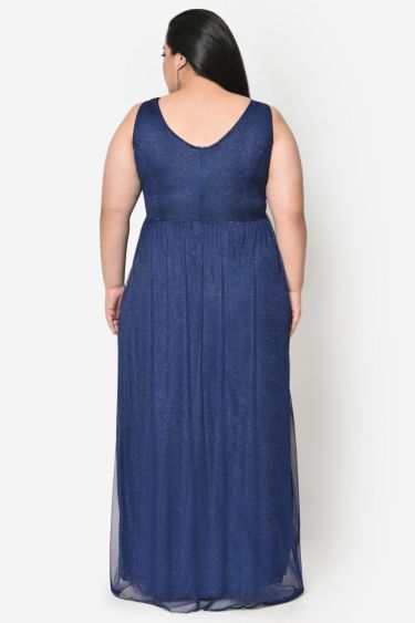 Blue pleated plus size prom gown