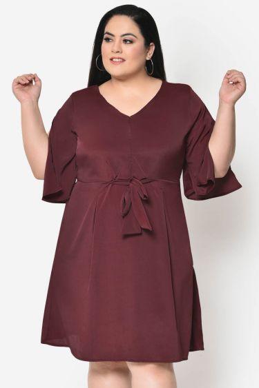 Wine knotting plus size dress