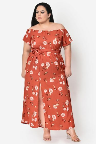Rust brown floral off shoulder Maxi dress