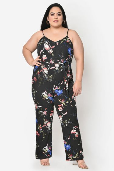 Black floral knotting plus size jumpsuit