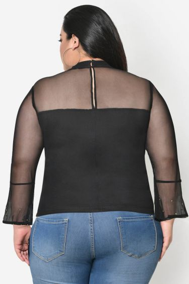 Black Net bell sleeve studded plus size top