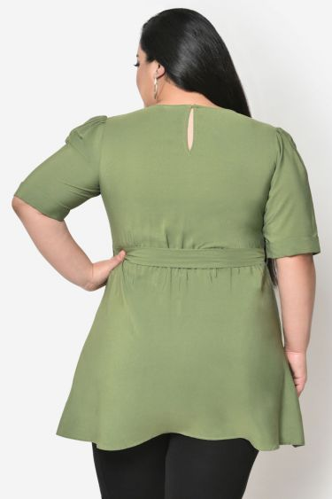 Light green high low plus size top