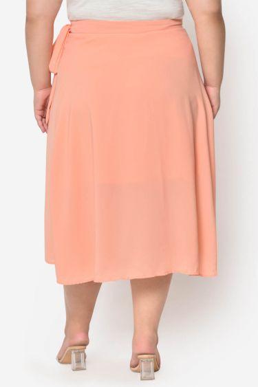 Peach wrap plus size Midi skirt