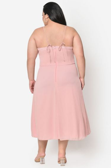 Light pink plus size tie up strap front slit dress