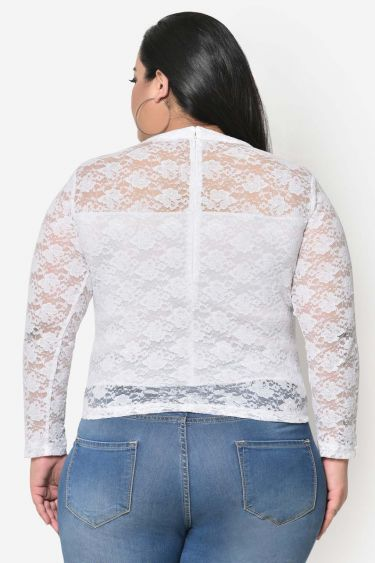White lace plus size band collar top