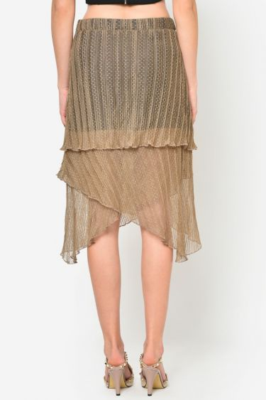 Beige Asymmetric Pleated Skirt